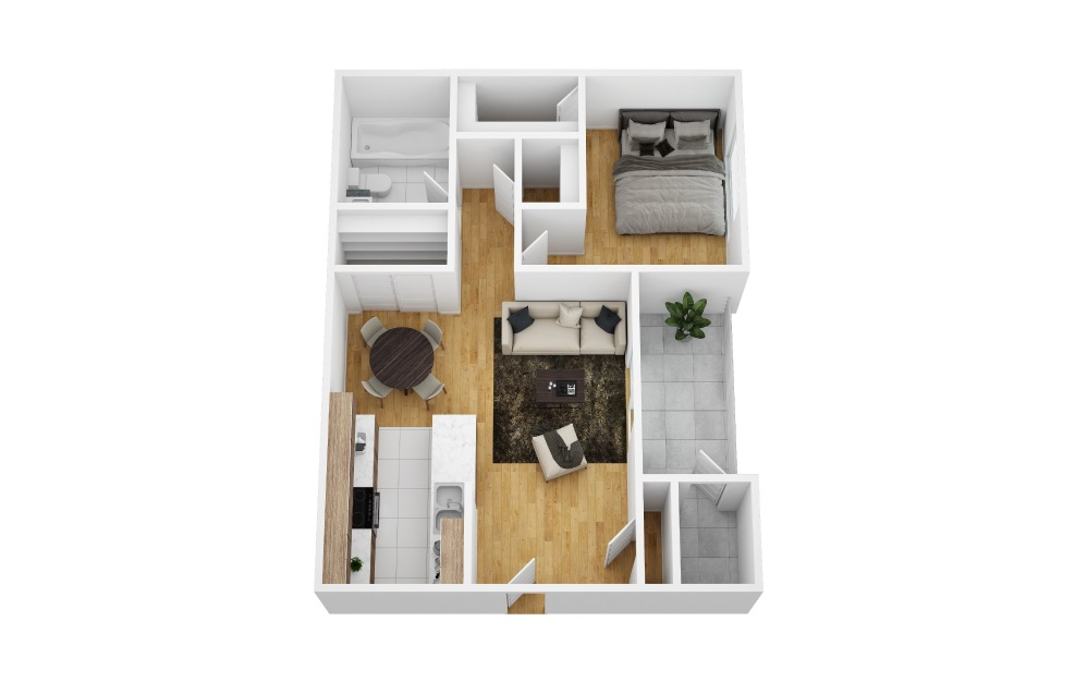 Ivy - 1 bedroom floorplan layout with 1 bath and 555 square feet (1st floor 2D)