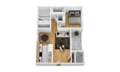 Ivy - 1 bedroom floorplan layout with 1 bath and 555 square feet