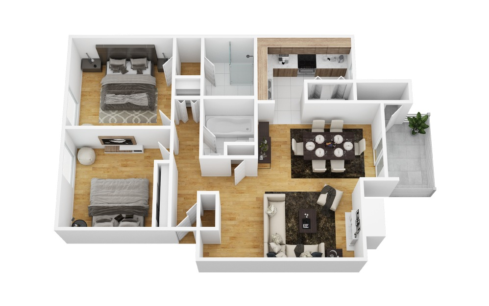 Alpine - 2 bedroom floorplan layout with 2 bath and 1008 square feet (1st floor 2D)