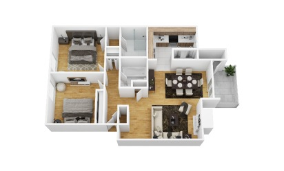 Alpine - 2 bedroom floorplan layout with 2 bath and 1008 square feet