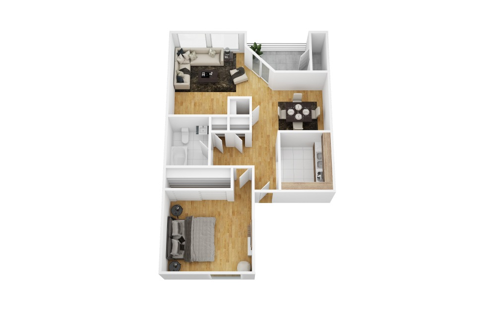 Crossvine - 1 bedroom floorplan layout with 1 bath and 710 square feet (1st floor 2D)