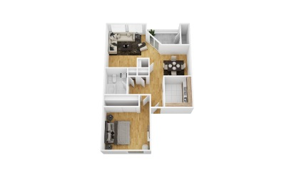 Crossvine - 1 bedroom floorplan layout with 1 bath and 710 square feet