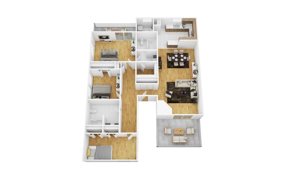 Grape - 3 bedroom floorplan layout with 2 bath and 1514 square feet (1st floor 2D)