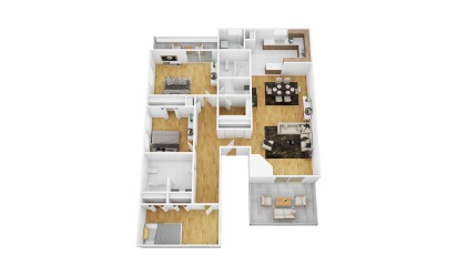 Grape - 3 bedroom floorplan layout with 2 bath and 1514 square feet