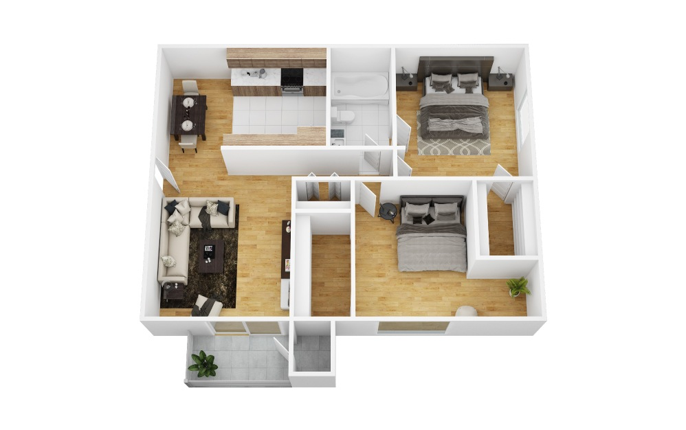 Honeysuckle - 2 bedroom floorplan layout with 1 bath and 840 square feet (1st floor 2D)
