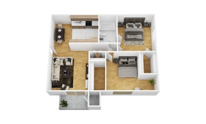 Honeysuckle - 2 bedroom floorplan layout with 1 bath and 840 square feet