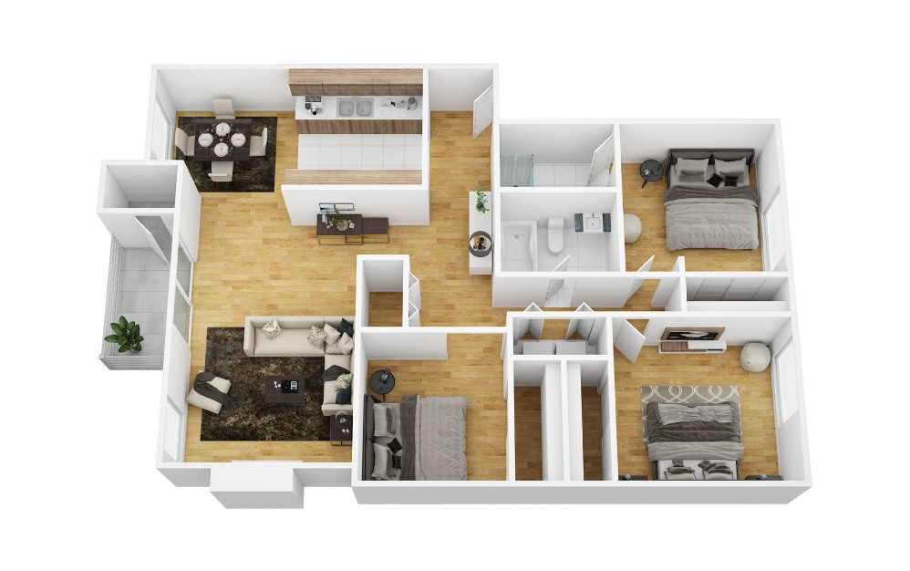 Hydrangea - 3 bedroom floorplan layout with 2 bath and 1204 square feet (1st floor 2D)
