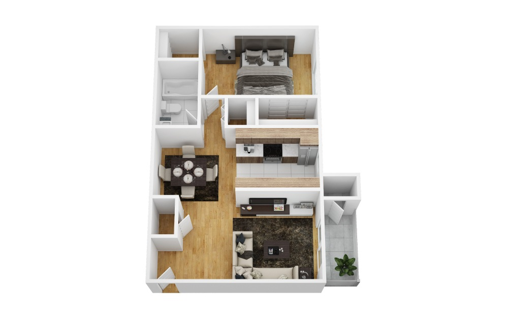 Liana - 1 bedroom floorplan layout with 1 bath and 700 square feet (1st floor 2D)