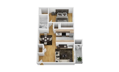 Liana - 1 bedroom floorplan layout with 1 bath and 700 square feet